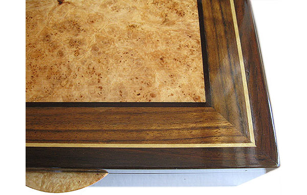 Maple burl and shedua inlaid box top - Handcrafted decorative men's valet box