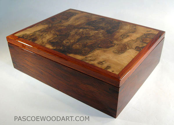 Men's Valet Box -  Handcrafted cocobolo men's box with spalted maple top