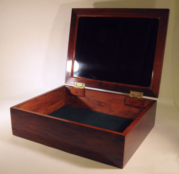 Men's valet box - Handmade cocobolo valet box for men with spalted maple burl top - opoen view