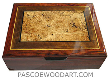 Handmade wood box - Decorative wood men's valet box made of cocobolo with shedua, spalted maple burl inlaid top