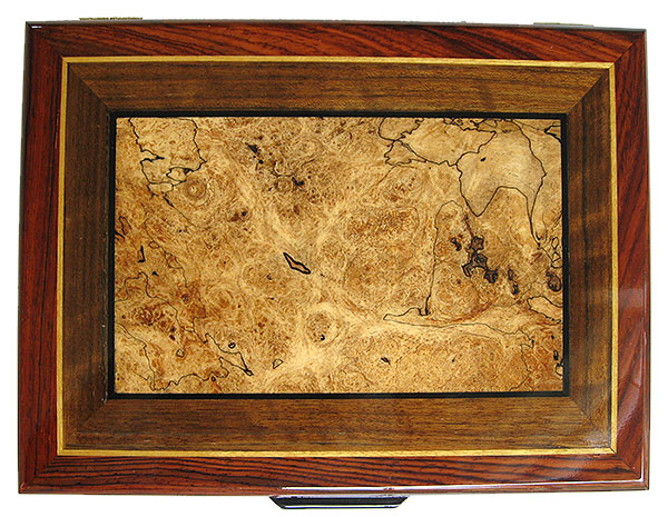 Spalted maple burl, shedua inlaid cocobolo box top - Handmade wood box - Decorative wood men's valet box
