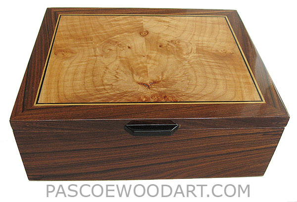 Handcrafted wood box - Decorative wood men's valet, keepsake box made of Santos rosewood with maple burl inlaid top - open view
