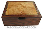 Handcrafted wood box - Decorative wood men's valet box, keepsake box made of Santos rosewood with maple burl inlaid top