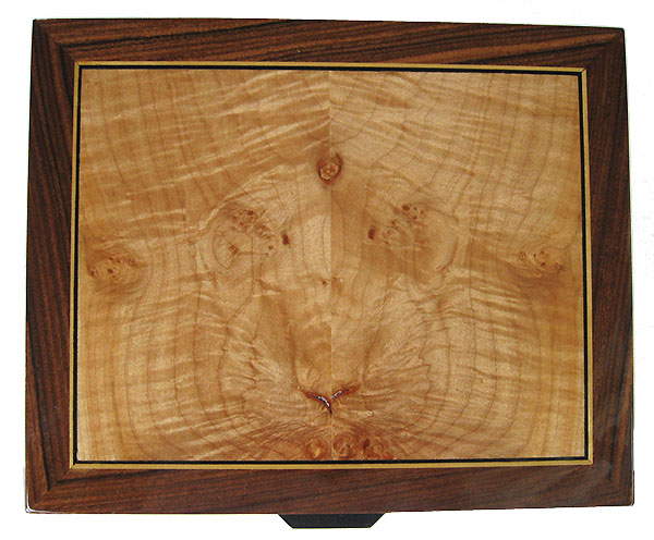 Maple burl inlaid Santos rosewood box top - Handcrafted wood box - Decorative men's valet, keepsake box