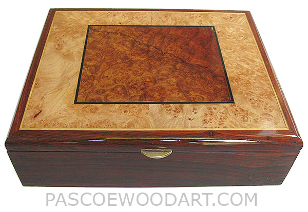Handcrafted wood box - Decorative wood men's valet box made of cocobolo with amboyna burl and maple burl inlaid top