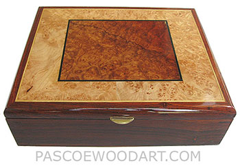 Handcrafted wood box - Decorative wood men's valet box, keepsake box made of cocobolo, amboyna burl, maple burl