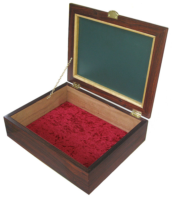 Handmade wood box -open view - Decorative wood men's valet box