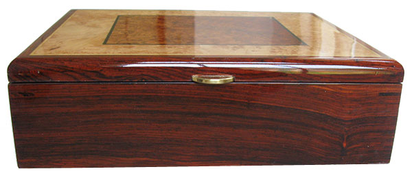 Cocobolo box front - Handmade decorative wood men's valet made of cocobolo with amboyma burl, maple burl inlaid top