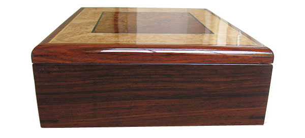 Cocobolo box side - Handmade decorative wood men's valet box