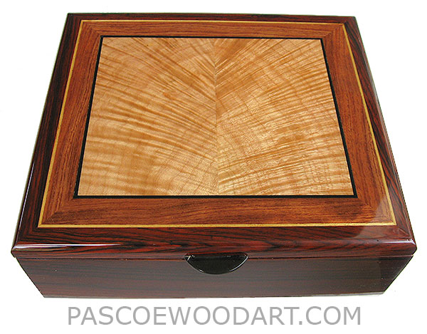 Handcrafted wood box - Decorative wood men's valet box, keepsake box made of cocobolo, flame maple, bubinga