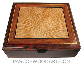 Handcrafted wood box - Decorative wood men's valet box, keepsake box made of cocobolo with flame maple top framed in bubinga, cocobolo