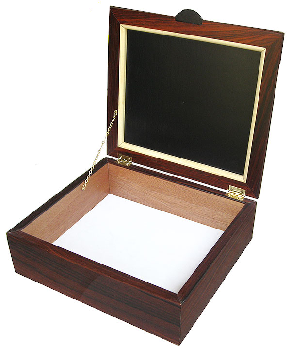 Handcrafted decorative wood box - open view