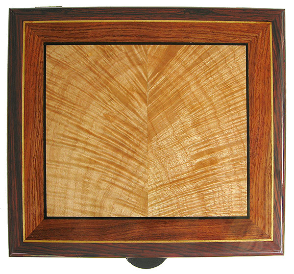 Handcrafted decorative wood box top - Flame maple framed in bubinga and cocobolo