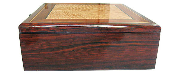 Handcrafted wood box - Cocobolo side view - Decorative men's valet box, keepsake box