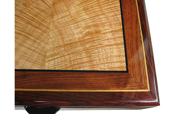 Handcrafted wood box top close-up - Decorative wood men's valet box, keepsake box