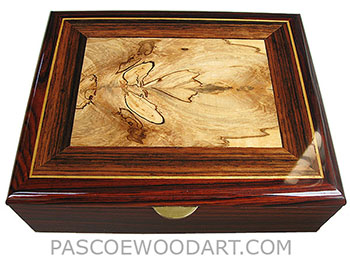 Handcrafted wood box - Decorative wood men's valet box, keepsake box made of cocobolo with spalted maple framed top