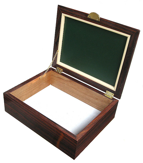 Handcrafted cocobolo box - open view - Decorative men's valet box