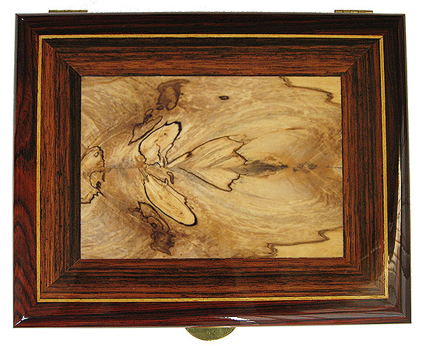 Spalted maple framed in Sabbah maple and cocobolo box top - Handcrafted Decorative wood men's valet box or keepsake box