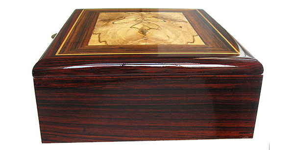 Cocobolo box end - Handcrafted decorative wood men's valet box