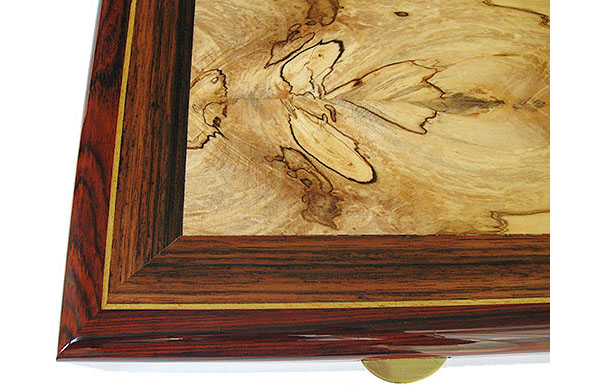 Spalted maple framed in Sabbah ebony and cocobolo with Ceylon satinwood striping box top close up- Handcrafted men's valet box