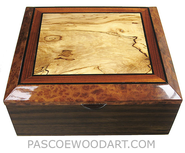 Handcrafted wood box - Decorative wood men's valet box made of Indian rosewood with spalted maple framed bevel top framed in Indian rosewood and camphor burl with ebony stripings