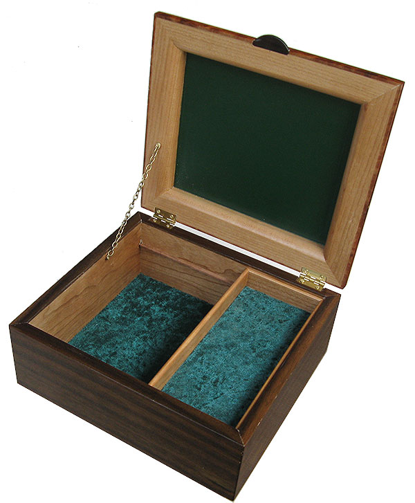 Handcrafted wood box with inner tray open view - Decorative men's valet box