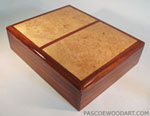 Cocobolo box - Handmade men's box made from Cocobolo and Maple Burl