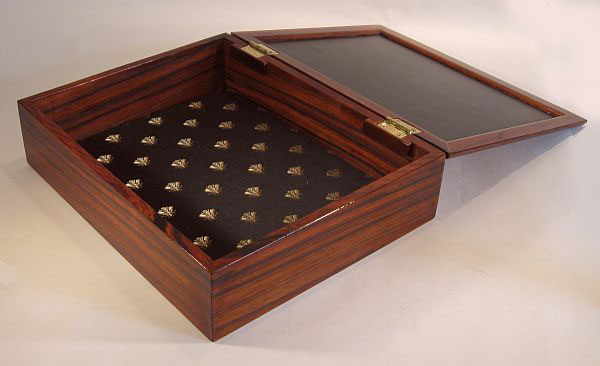 Handmade men's box made from Cocobolo and Maple Burl - Open View