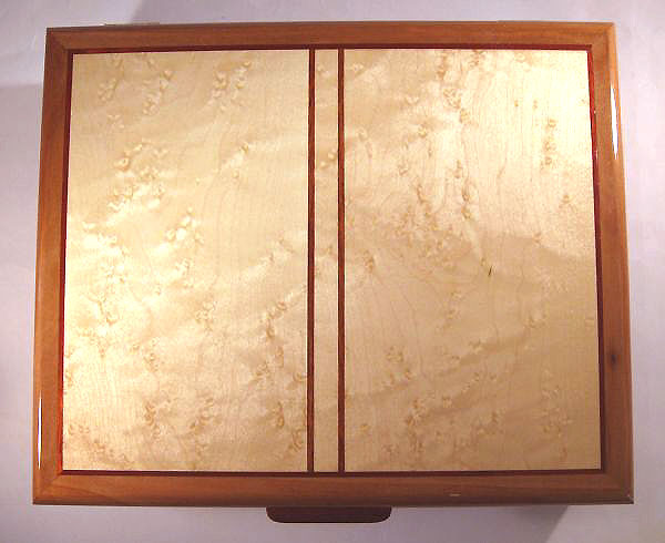 Handmade wood keepsake box made of pearwood and birds eye maple - top view