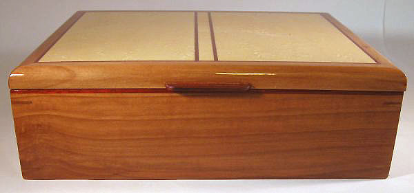 Handmade wood keepsake box made of pearwood and birds eye maple - front view