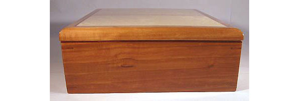 Handmade wood keepsake box made of pearwood and birds eye maple -side view