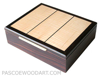 Cocobolo wood man's valet, keepsake box with figured maple top