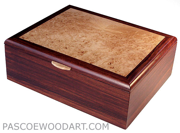 Cocobolo men's valet box with maple burl top inset - Handmade decorative wood box