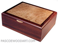 Man's valet box, keepsake box - cocobolo wood box with bird's eye maple top