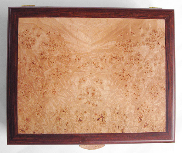 Cocobolo box top - Handmade cocobolo man's valet box with maple burl top inset