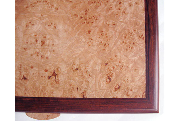 Maple burl top closeup - Handmade cocobolo men's valet box