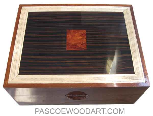 Handmade large wood box - Decorative wood deep men's valet box made of mahogany with macassar ebony, ash and bloodwood burl inlay top