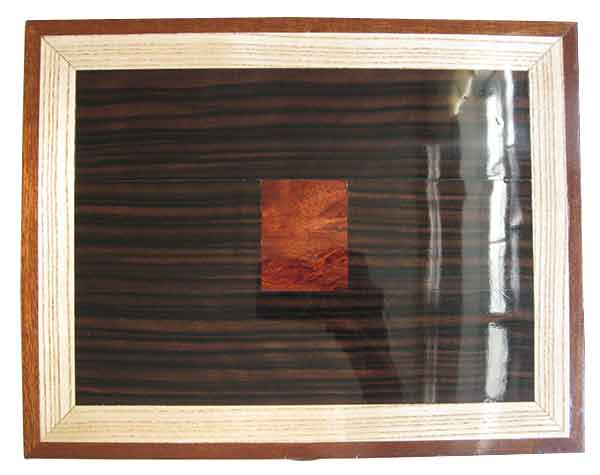 Macassar ebony with bloodwood burl inlay framed in ash and mahogany box top - Handmade large wood box