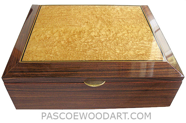 Handcrafted large wood box - Decorative wood men's valet, keepsake box or letter size document box made of Santos rosewood, bird's eye maple