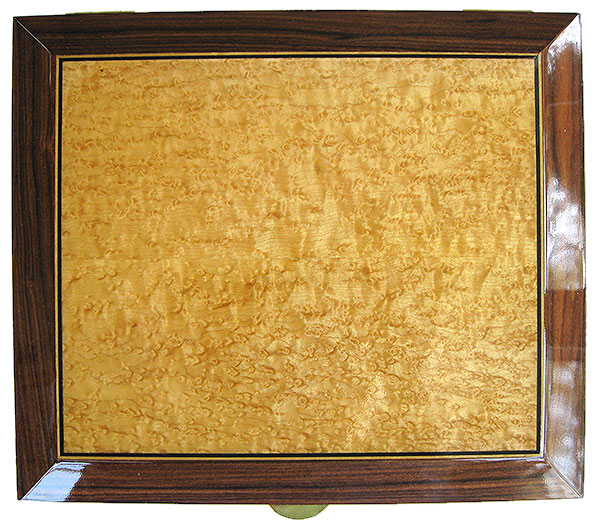 Bird's eye maple framed in Santos rosewood with ebony and satinwood stringing box top- Handmade large wood box, men's vale box, keepsake box, letter size document box