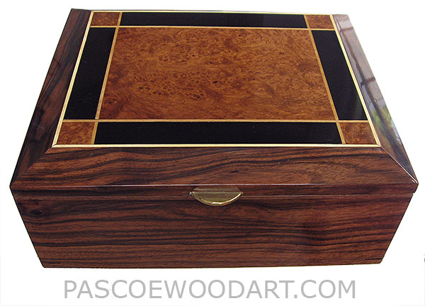 Handcrafted wood box - Large men's valet box with sliding tray made of  Macassar ebony with amboyna burl and ebony top