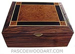Large men's valet  box, keepsake box -Handcrafted wood box made of Macassar ebony with amboyna burl and ebony inlaid top