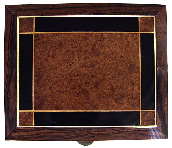 Amboyna burl and ebony inlay box top - Handcrafted wood large men's valet box