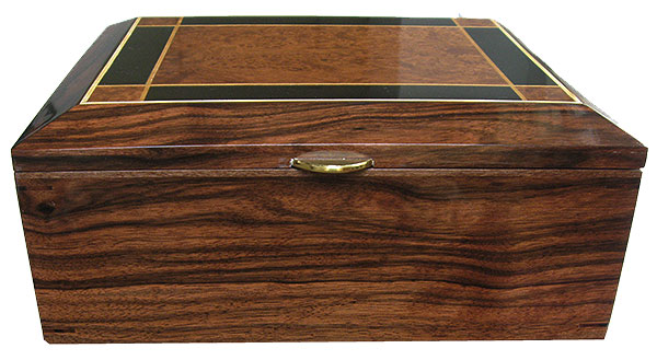 Macassar ebony box front - Handcrafted large men's valet box