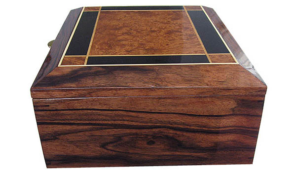 Macassar ebony box end - Handcrafted wood large men's valet box