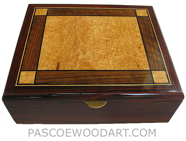 Handcrafted large cocobolo wood box - Decorative wood valet box, keepsake box made of cocobolo, bird's eye maple, shedua