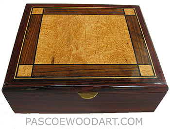 Handmade large cocobolo wood box - Decorative men's valet box, keepsake box with mosaic top made of bird's eye maple, shedua and ebony veneer