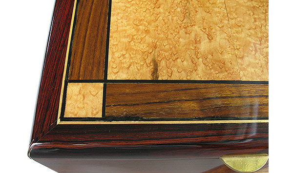 Handcrafted wood box mosaic top close up