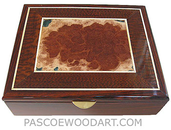 Handcrafted wood box - Decorative wood men's valet box mae of cocobolo, red mallee burl, snakewood