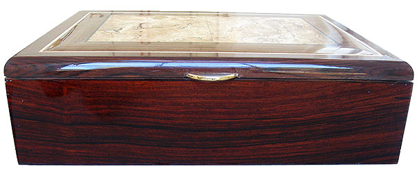 Cocobolo box front - Handcrafted large wood decorative men's valet box, keepske box, document box